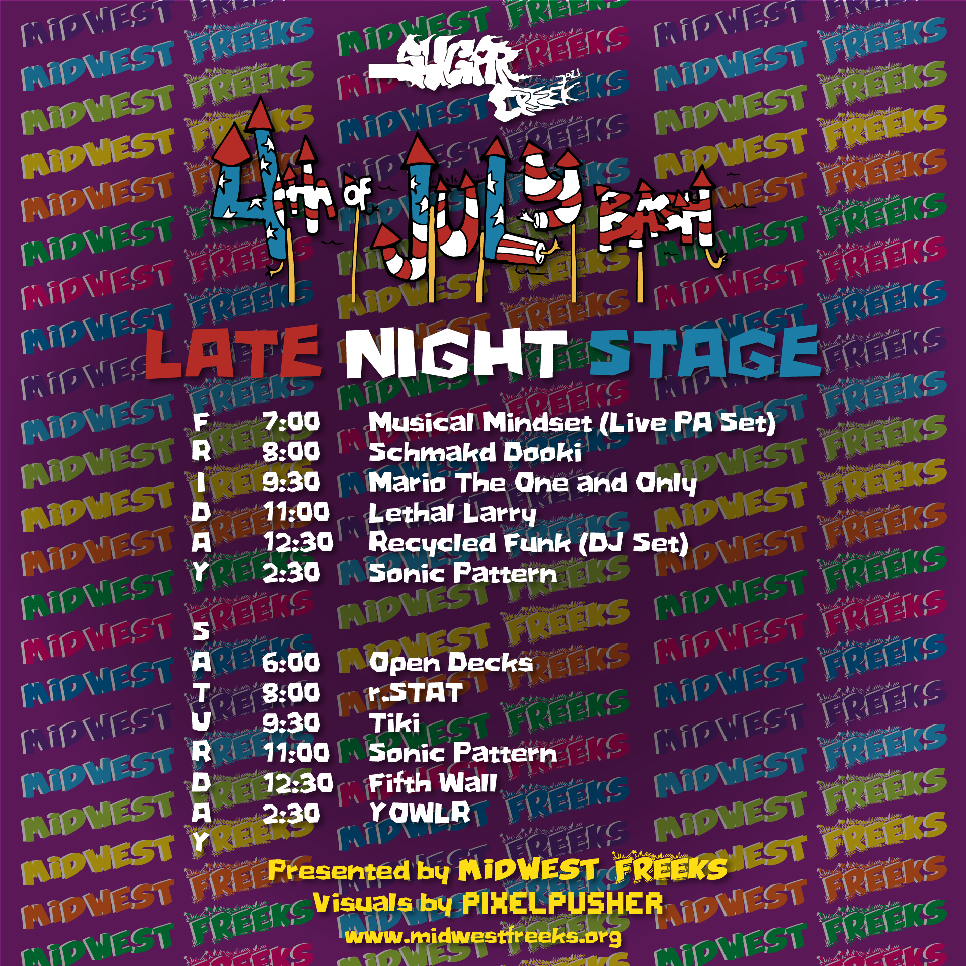 Midwest Freeks Late Night Stage Schedule