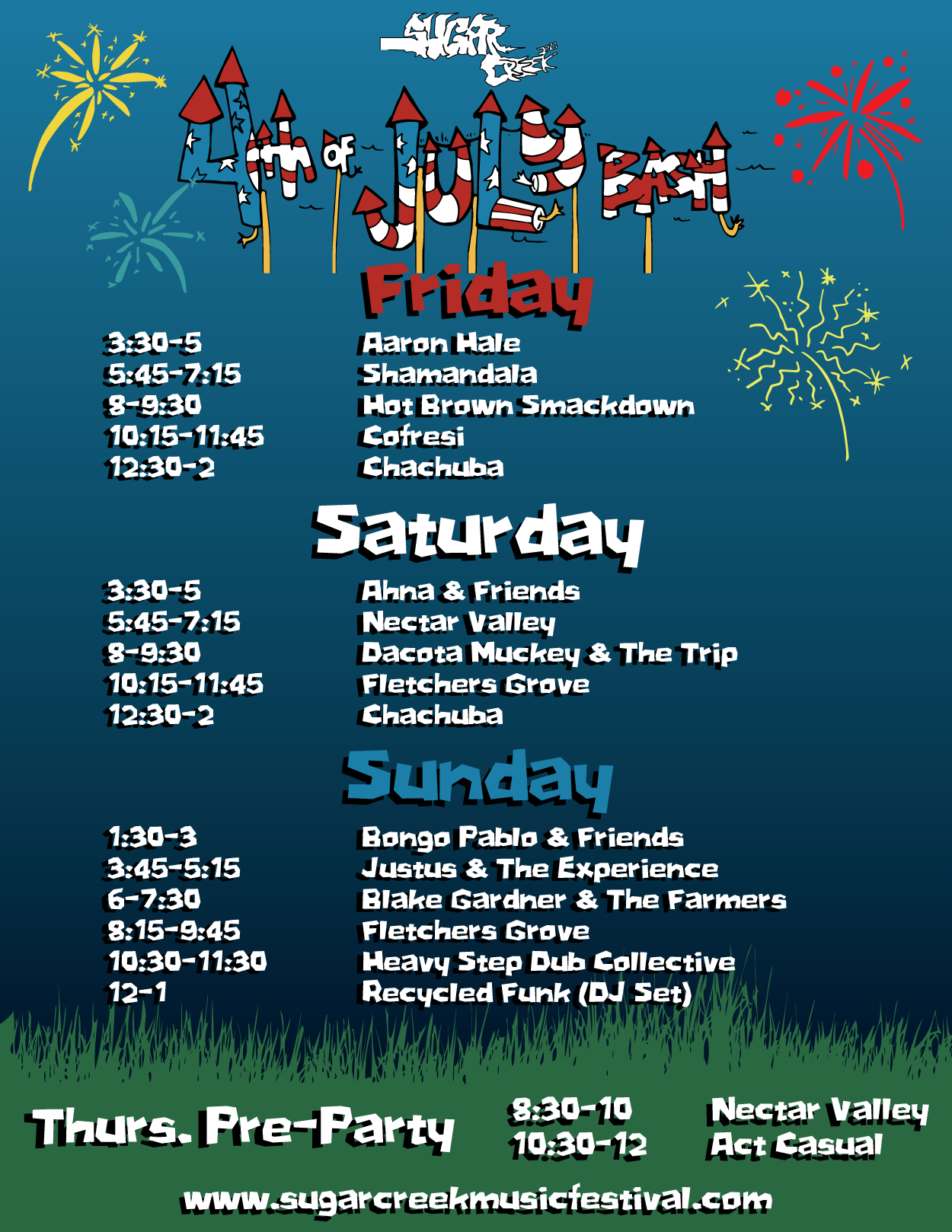 4th of July Bash Band Schedule