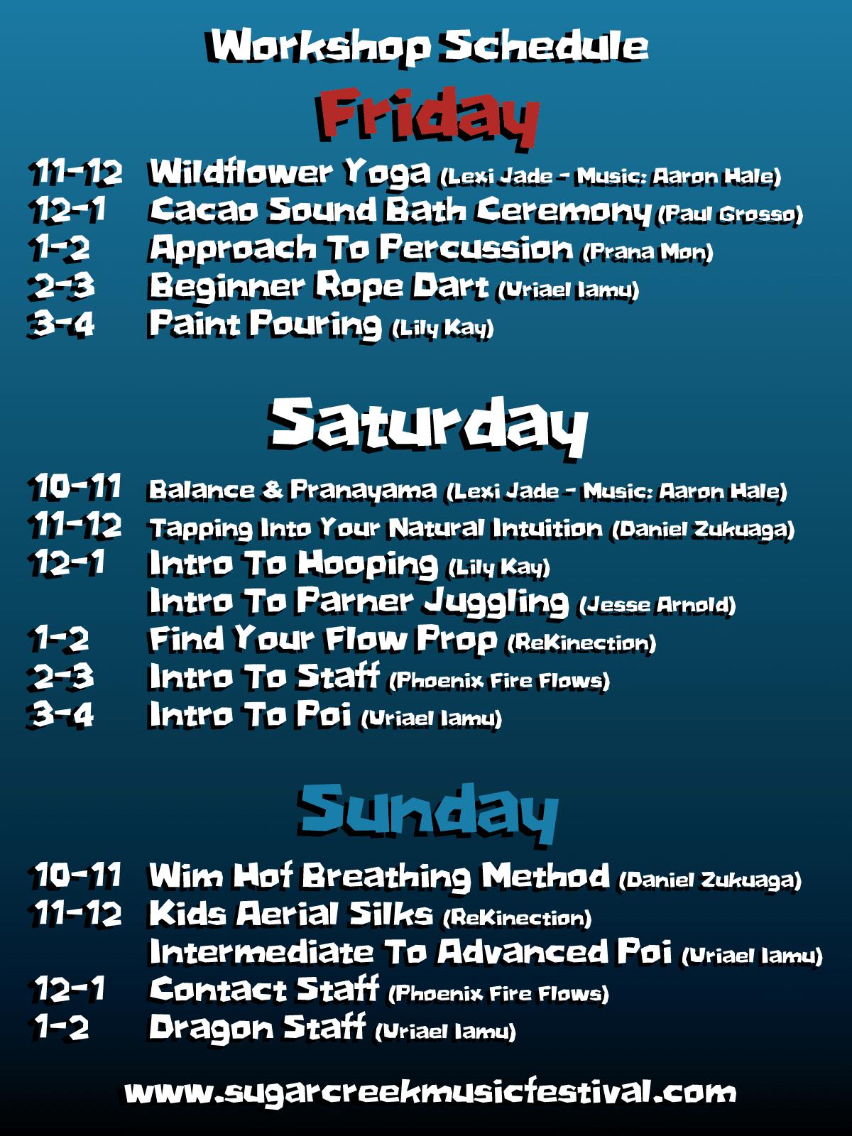 4th of July Bash Workshop Schedule